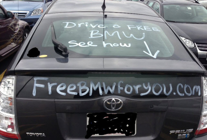 drive my prius in the dc metro area during am or pm rush hour with your website message or ad chalked on rear or side glass