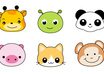 draw 5 super CUTE cartoon animal faces small2