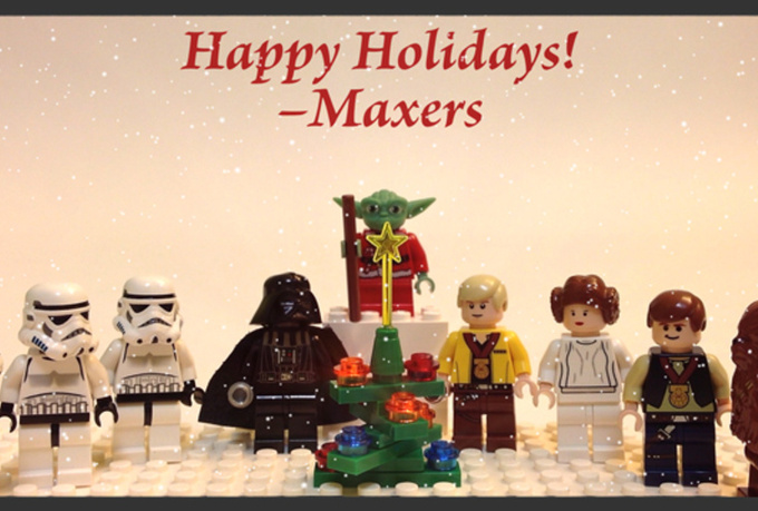 make this awesome personalized christmas holiday greeting video e card, featuring Lego Star Wars stop motion animation and your message