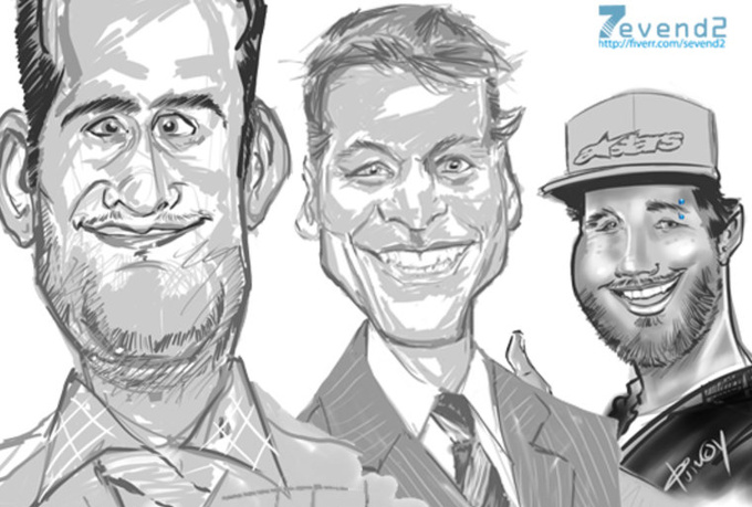 draw a Funny caricature from any photo in black and white