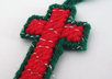 send 4 handcrafted red and green Christmas cross ornaments to your US address small3