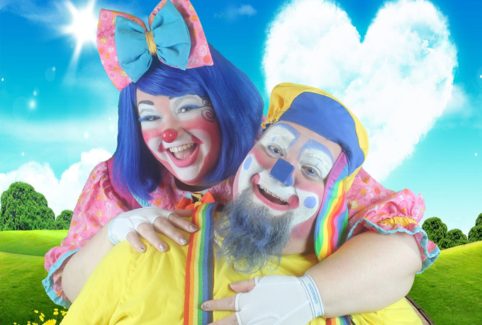 dress in clown costume and create a custom message