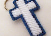 send 1 handcrafted blue and white cross key ring to your US address
