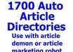 send 1700 auto approved article directories for article demon and amr plus 1 FREE gig