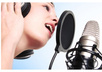 Woman-recording-microphone-ear-phones