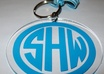 make a personalized 3 inch acrylic keychain with one or three initials