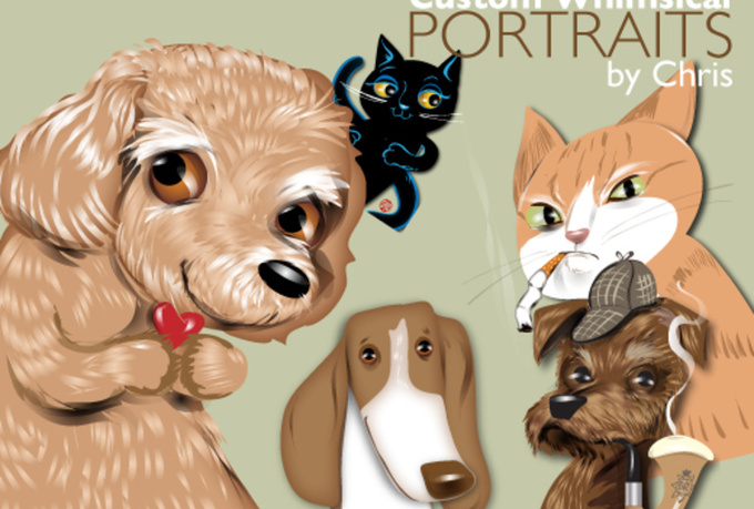 create a FIVERR exclusive whimsical illustration of your pet
