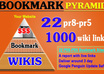 create a super Bookmark Pyramid with 22 PR8 to PR5 Social Bookmarks Manually and 1000 wiki links, Google Penguin Update Safe
