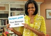 place professionally your messages, names, greetings on Michel Obama s hand