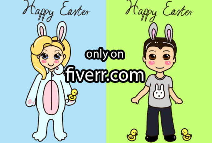 draw you as the cutest ever EASTER themed chibis couple, 2 chibis