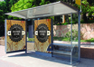 create a HIGH quality 3d image of this Bus Shelter with your logo and text