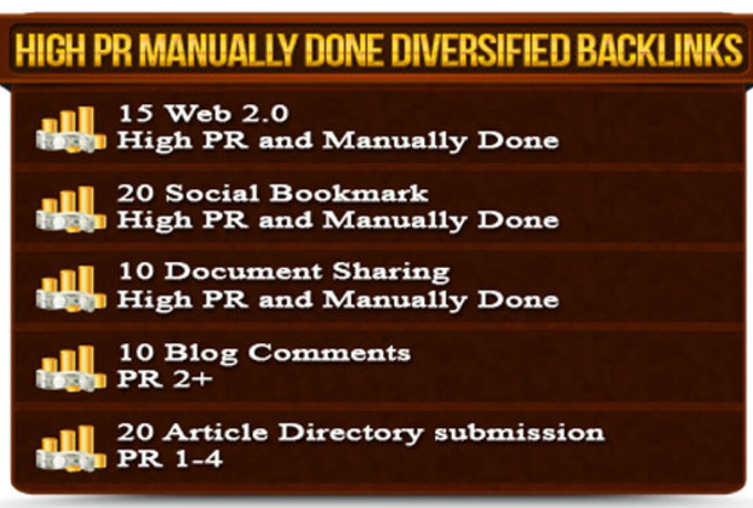 manually create 75 quality high pr 1 to 9 dofollow backlinks from 5 different properties with unique domain