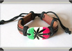 send 1 Brown Real Leather and Hemp Rasta Pot Leaf Bracelet