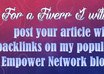 post your article with backlinks on my popular Empower Network blog small1
