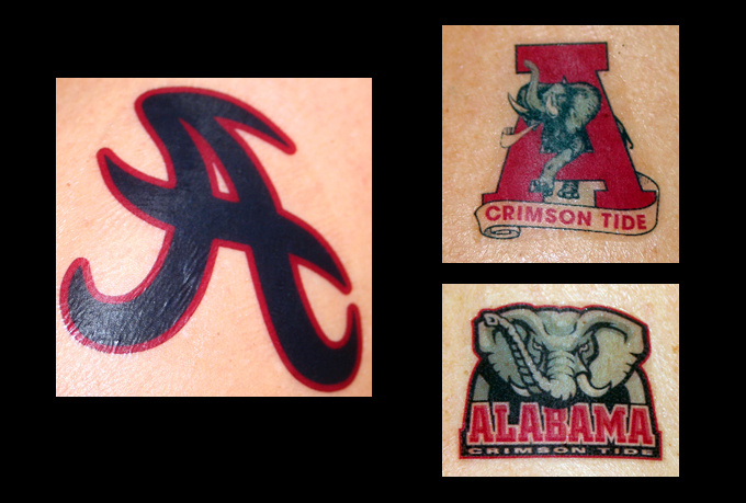 make and ship personalized university of alabama temporary tattoos. Black Bedroom Furniture Sets. Home Design Ideas