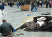 create sidewalk art illusion of your pic in busy city