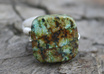 make a silver square Turquoise ring