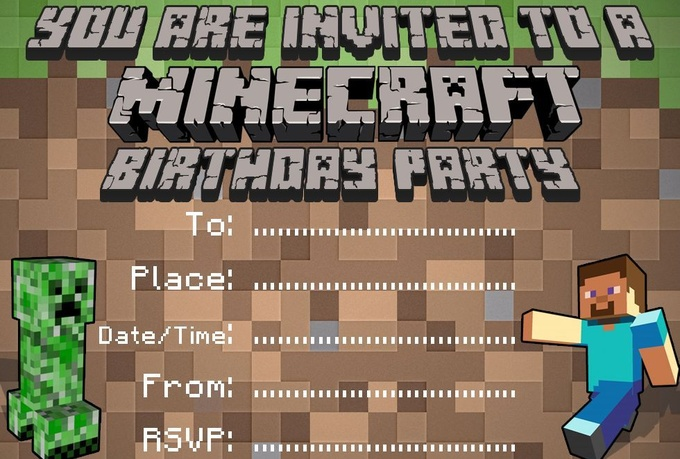 Customize A Minecraft Quality Birthday Invitation Fiverr