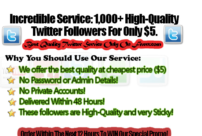 deliver 1,000 REAL Human Twitter Followers Within 48Hrs