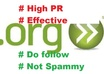 manually make 20 dofollow, effective, high PR org backlinks for your website
