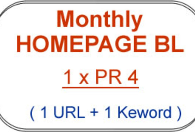 provide you with 1 x Monthly PR4 DoFollow HOMEPAGE Backlink on my PR4 Blogs with Maximum 20 DoFollow Outbound Links for 1 Month