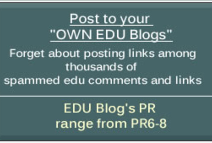give you the Exact Url to a PR6 to 8 EDU blog Where You Can Post your Links There Again and  Again