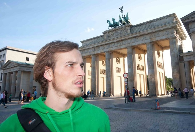 produce a genuine street INTERVIEW testimonial video in front of the most famous sight of Berlin